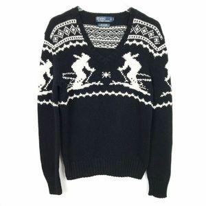 Polo Ralph Lauren Sweater Ski V-neck Black L
